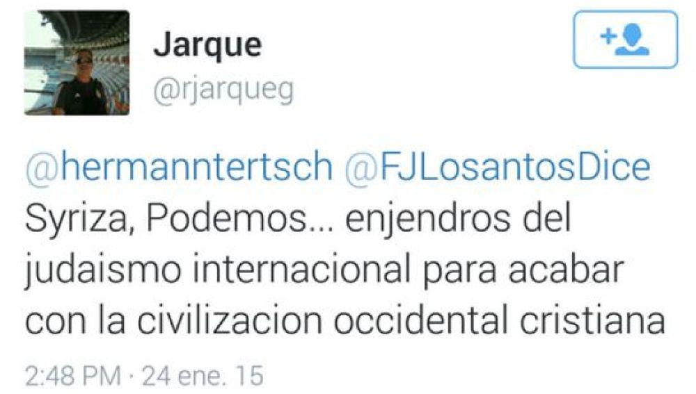 Tuit publicado por Jarque en su perfil de Twitter