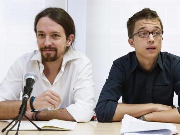 El secretario general de Podemos, Pablo Iglesias, y el secretario político de Podemos, Íñigo Errejón.