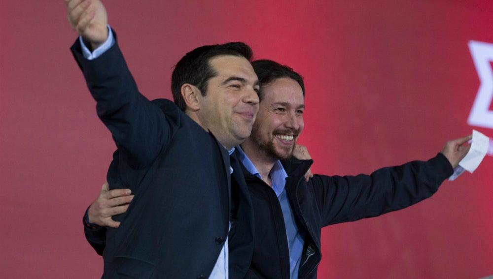 Tsipras, con Pablo Iglesias