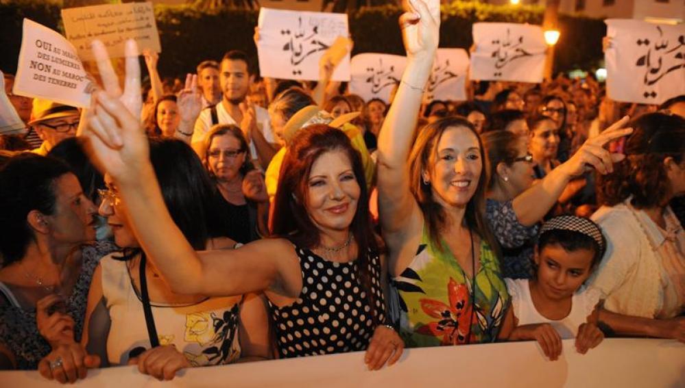 Cientos de marroquíes salieron a protestar en contra del arresto
