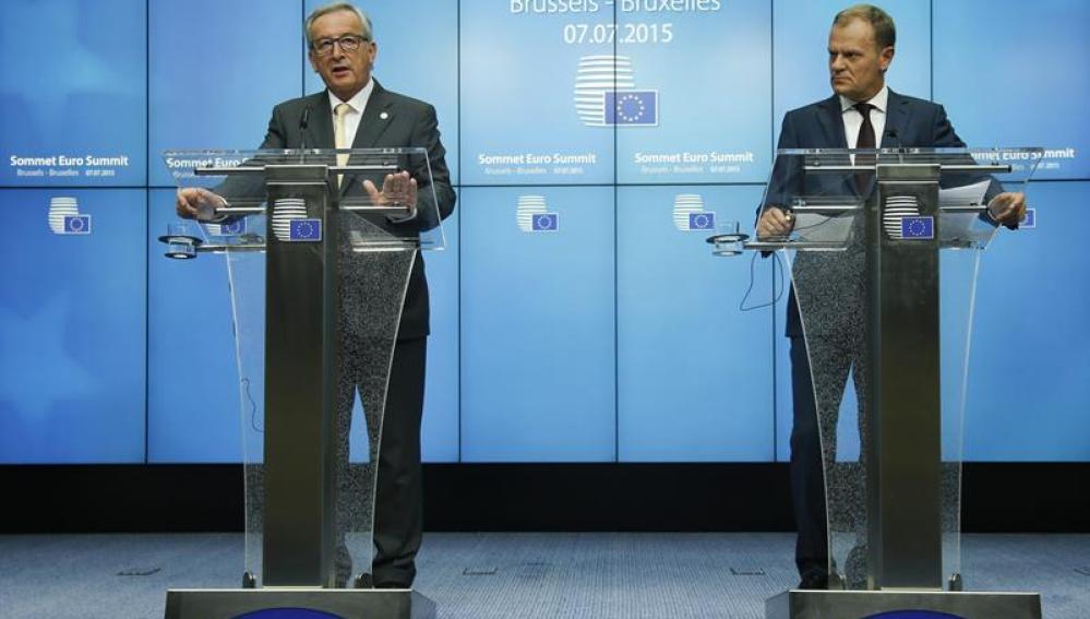 El presidente del Consejo Europeo, Donald Tusk, y el presidente de la Comisión Europea, Jean-Claude Juncker