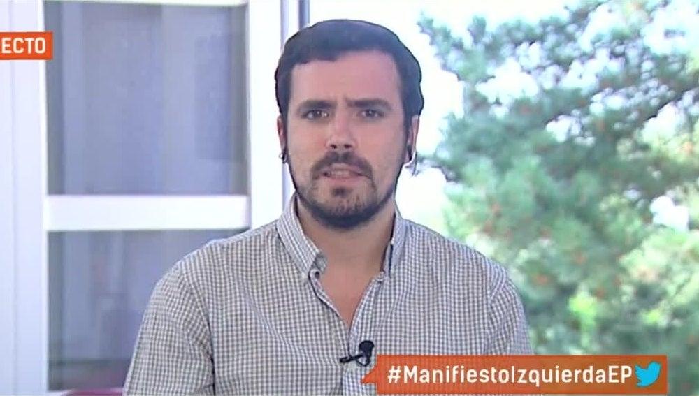 Alberto Garzón en una entrevista en Espejo Público