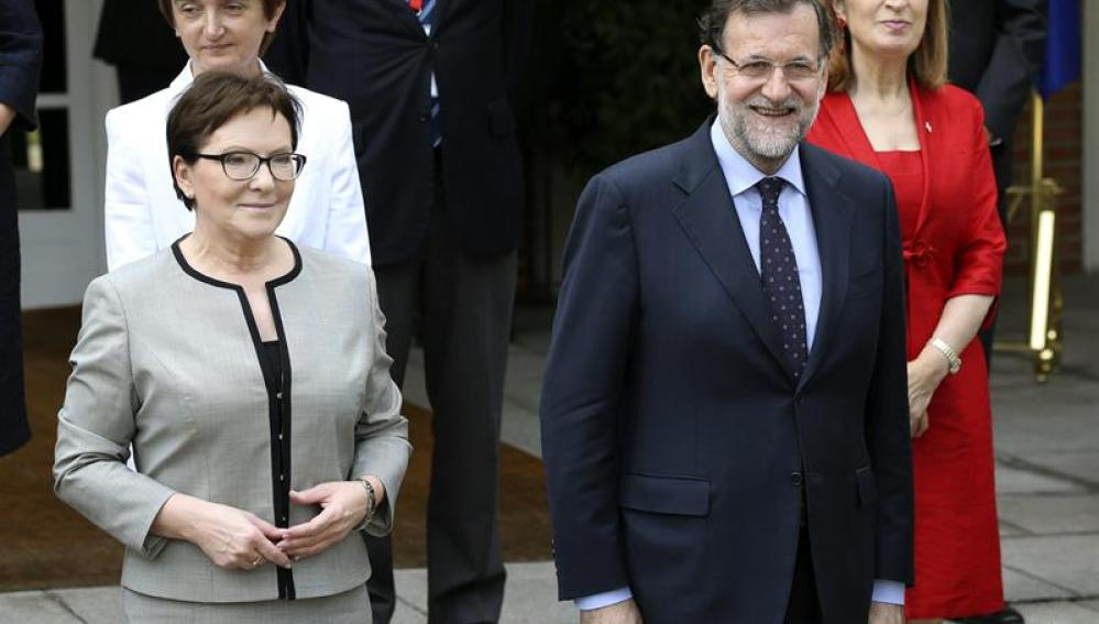 Mariano Rajoy, junto a su homóloga polaca Ewa Kopacz