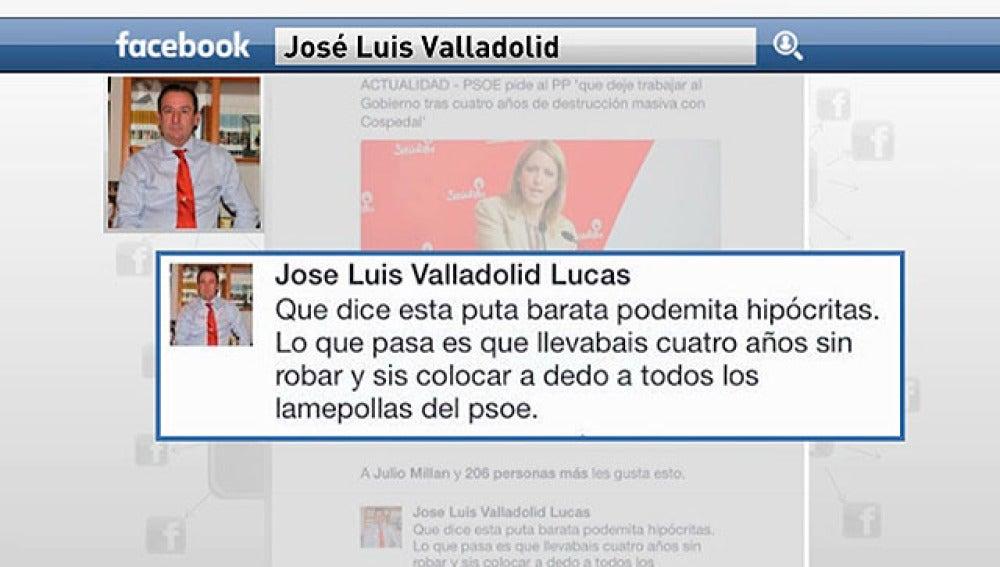 Imagen de la publicación del alcalde José Luis Valladolid
