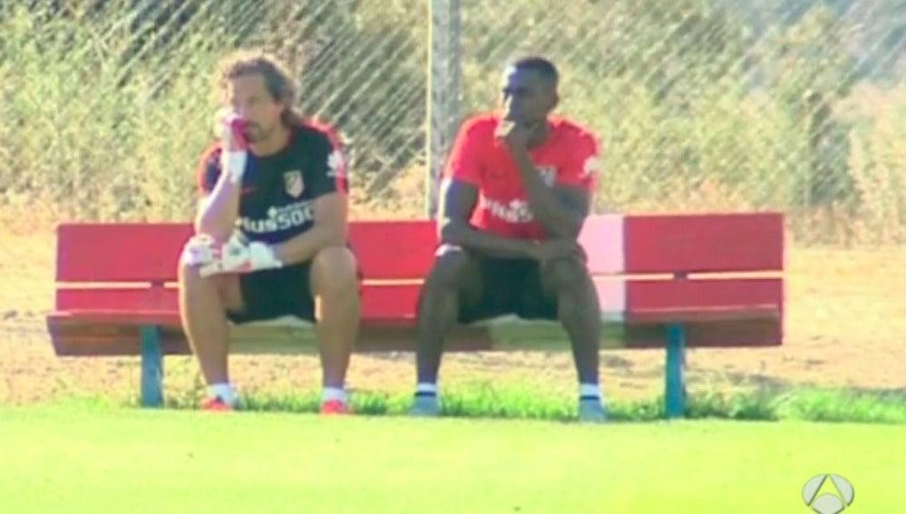 Jackson Martínez en un entrenamiento con el Atlético