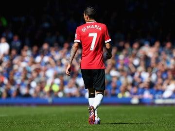 Ángel di María en un partido con el United