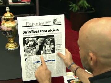 Página de periódico tras el segundo puesto de De la Rosa en Hungría