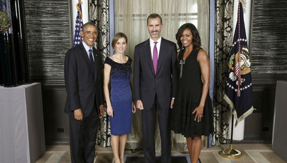 Los Reyes junto a Barack y Michelle Obama en septiembre de 2014