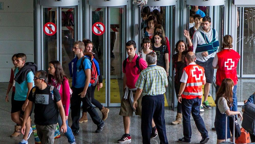 Pasajeros del autobús llegan a Bilbao