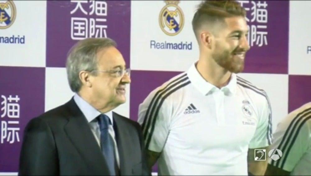 Sergio Ramos y Florentino Pérez se reencuentran en China