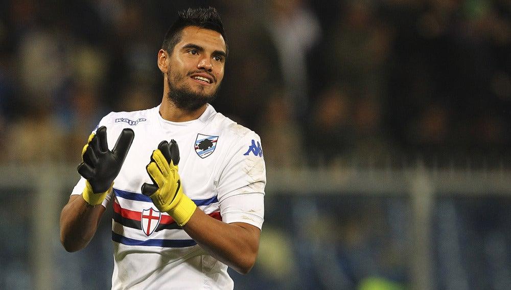 Sergio Romero celebra una victoria cuando militaba en la Sampdoria italiana.