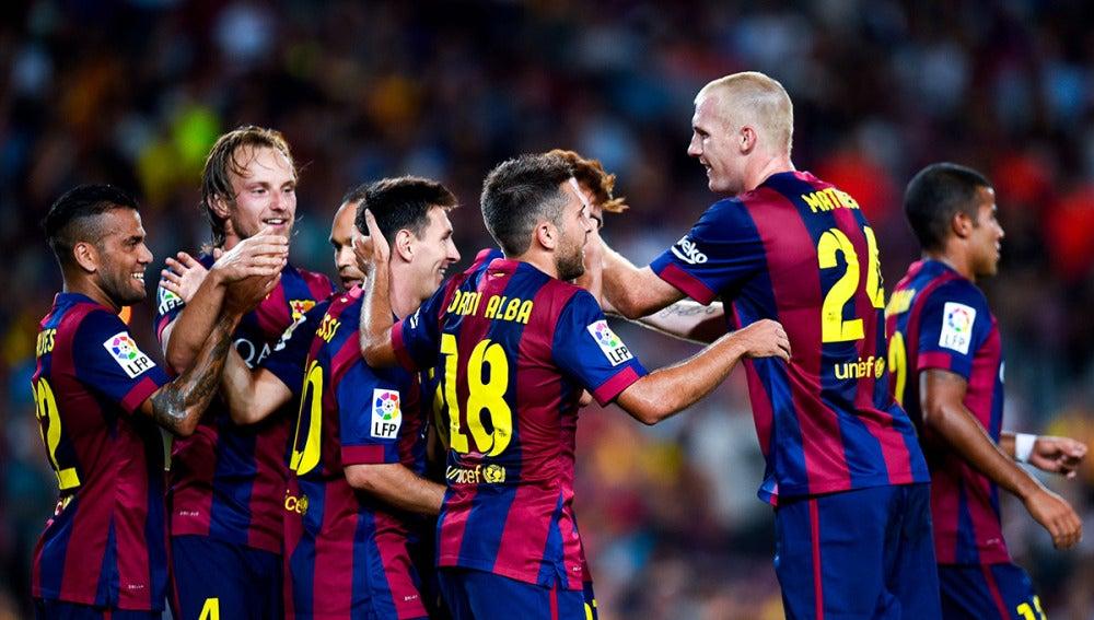 Los jugadores del Barcelona celebran un gol en la pasada edición del Joan Gamper