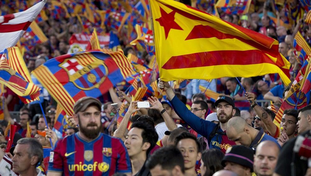 La afición del Barcelona durante la final de la Copa del Rey