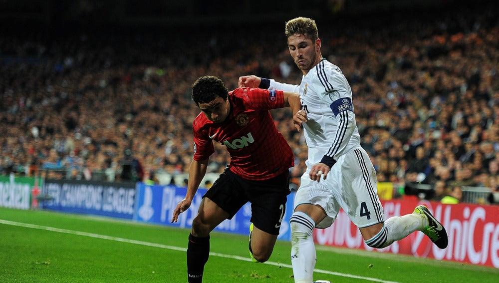 Sergio Ramos, en un partido contra el United