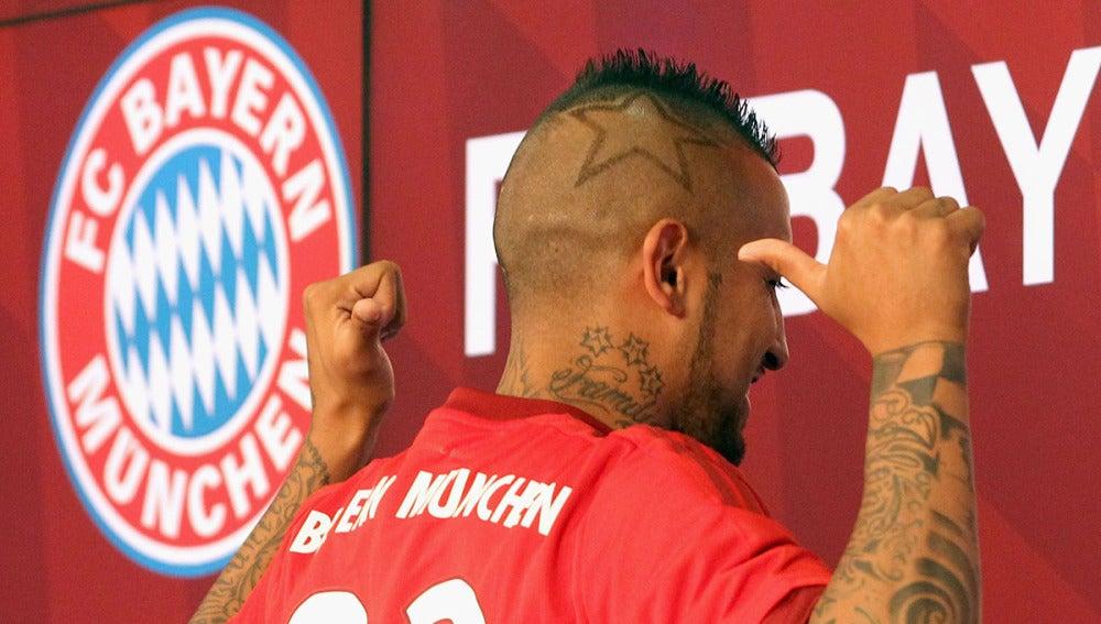 Arturo Vidal, en su presentación con el Bayern