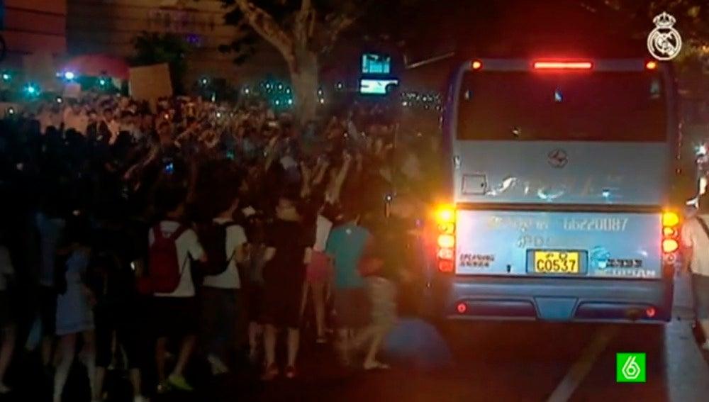 El Real Madrid, llegando a Shangai