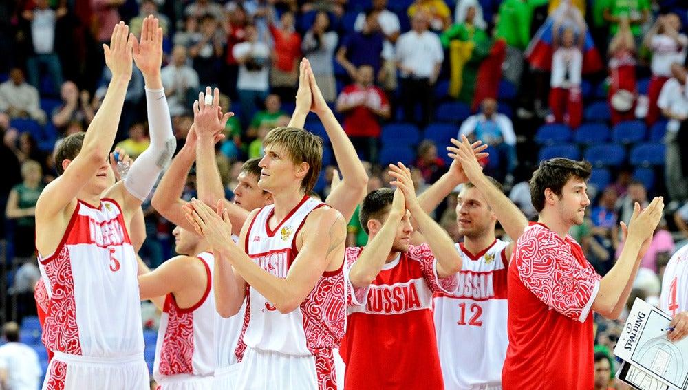 Los jugadores de la selección rusa, después de un encuentro