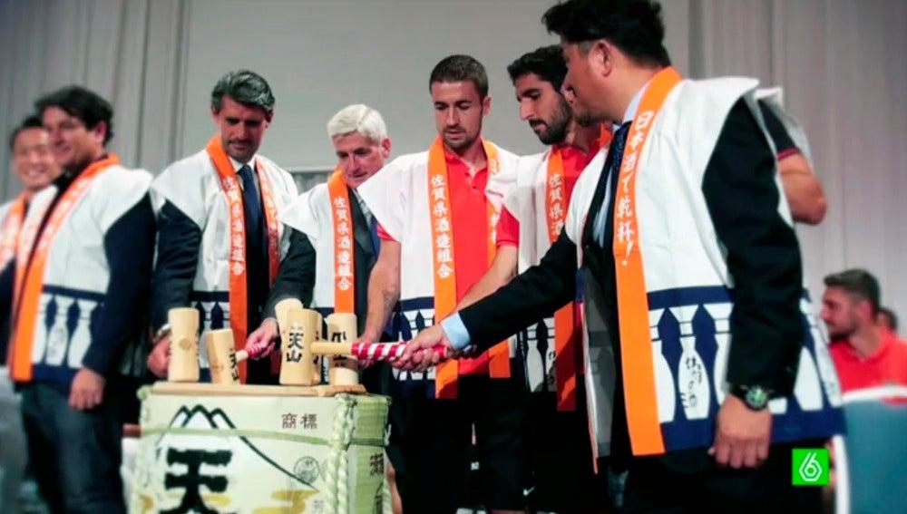 Los jugadores del Atleti, durante su gira japonesa