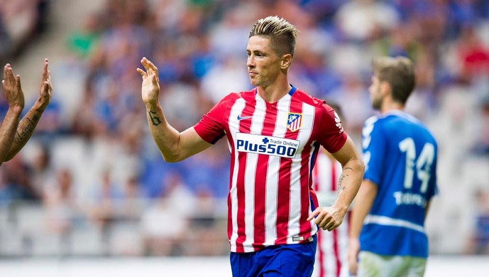 Fernando Torres en un partido con el Atlético de Madrid