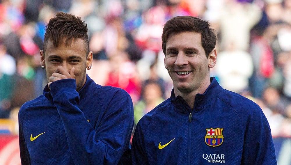 Neymar y Messi, antes de un partido