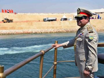 Abdelfatah al Sisi, durante la inauguración del nuevo canal de Suez