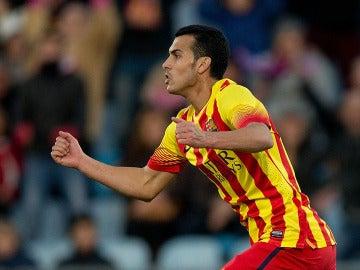 Pedro celebra un gol con el Barça