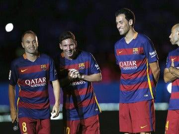 Los capitanes del Barça, juntos antes del Gamper