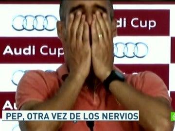 Pep Guardiola, de los nervios