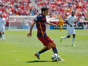 Pedro durante un partido con el Barça