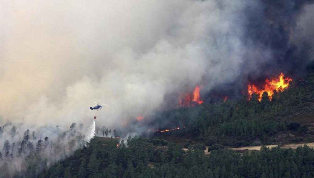 Incendio en la Sierra de Gata