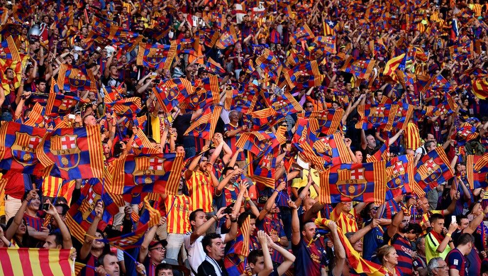 La afición del Barcelona durante la final de la Champions en Berlín