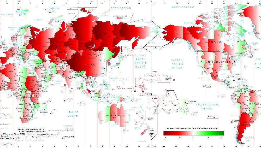 Mapa de los husos horarios del mundo