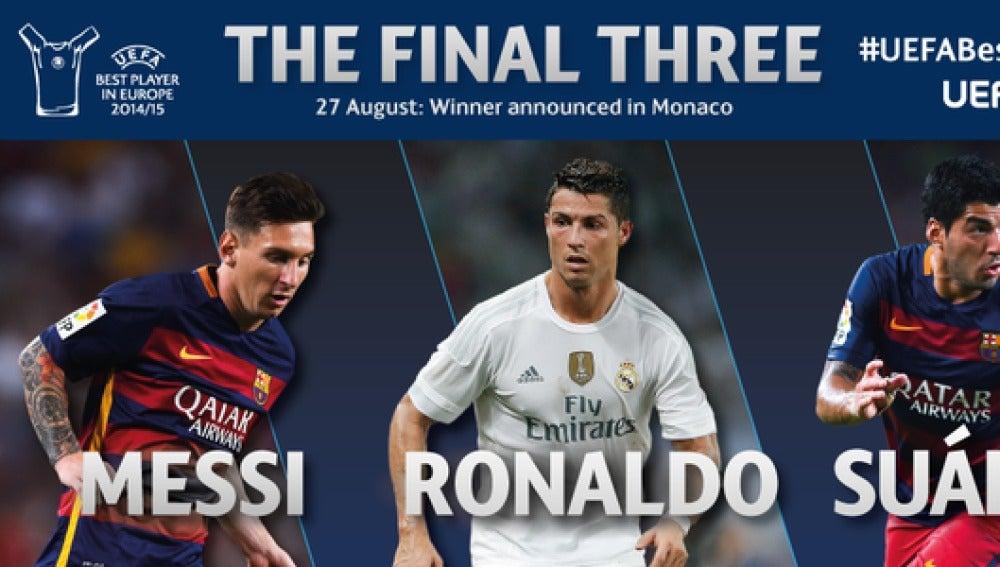 Los tres nominados al jugador UEFA