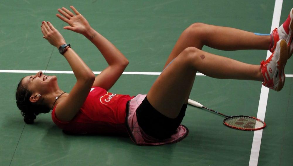 Carolina Marín celebra su segundo campeonato del mundo