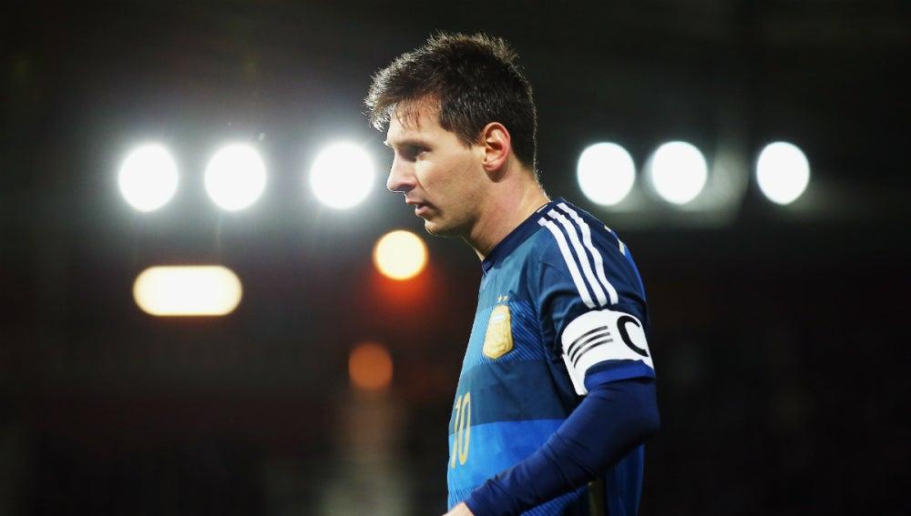 Leo Messi, durante un partido con Argentina