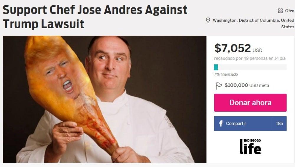 Ayuda al cocinero José Andrés contra la demanda de Trump