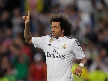 Marcelo tras anotar su gol con el Real Madrid