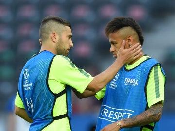 Jordi Alba y Neymar regresan al trabajo con sus compañeros