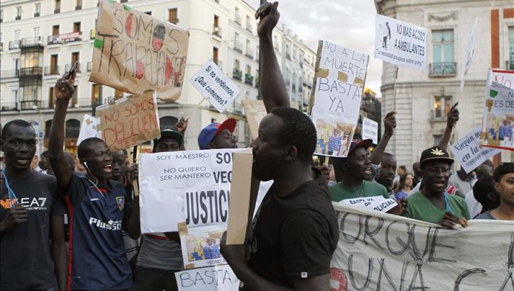 Protesta de los senegaleses de Salou
