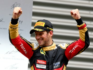 Grosjean, en el podio de Bélgica
