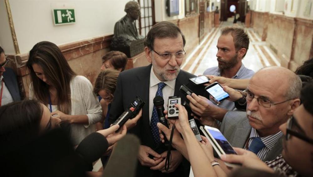 Mariano Rjoy, en declaraciones a los periodistas en los pasillos del Congreso