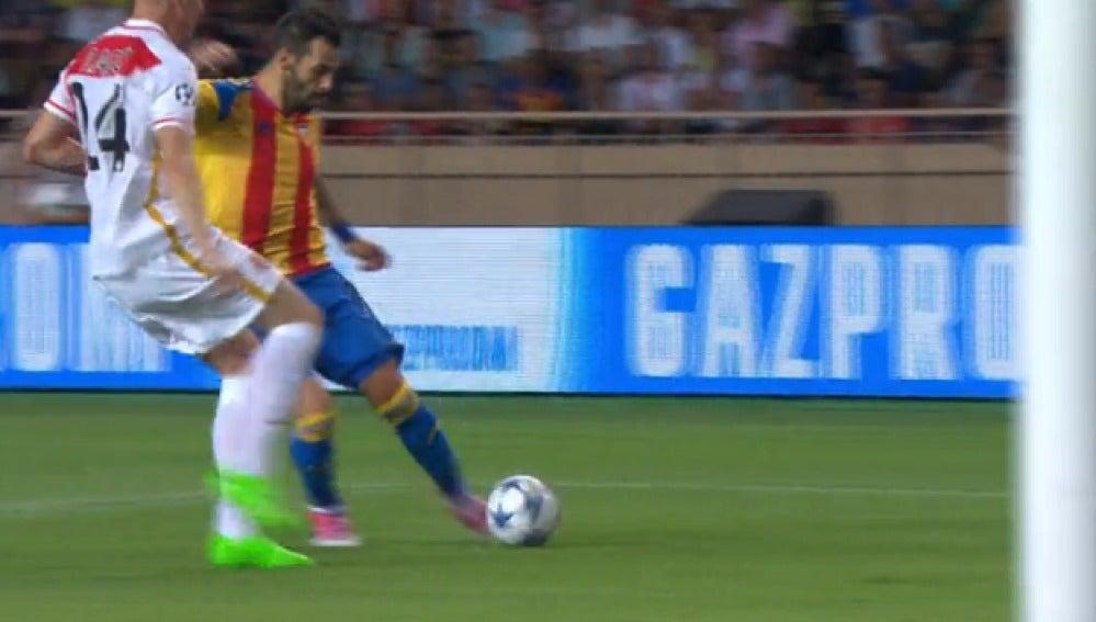 Negredo anota el 0-1 en el Mónaco-Valencia
