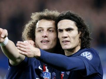 David Luiz y Cavani, durante un encuentro con el PSG
