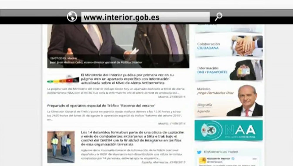 Antena 3 tv el ministerio de interior publica en su web for Web ministerio interior