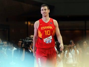 Víctor Claver, durante la presentación de la selección de baloncesto
