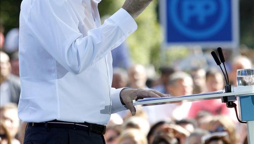 Mariano Rajoy durante el discurso en Soutmaior