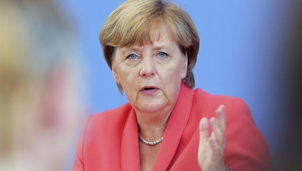 La canciller alemana Angela Merkel durante la rueda de prensa