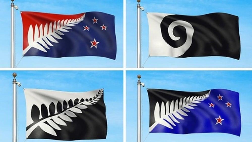 Las cuatro propuestas para cambiar la bandera actual de Nueva Zelanda.