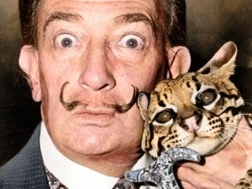 Salvador Dalí con un ocelote en 1965