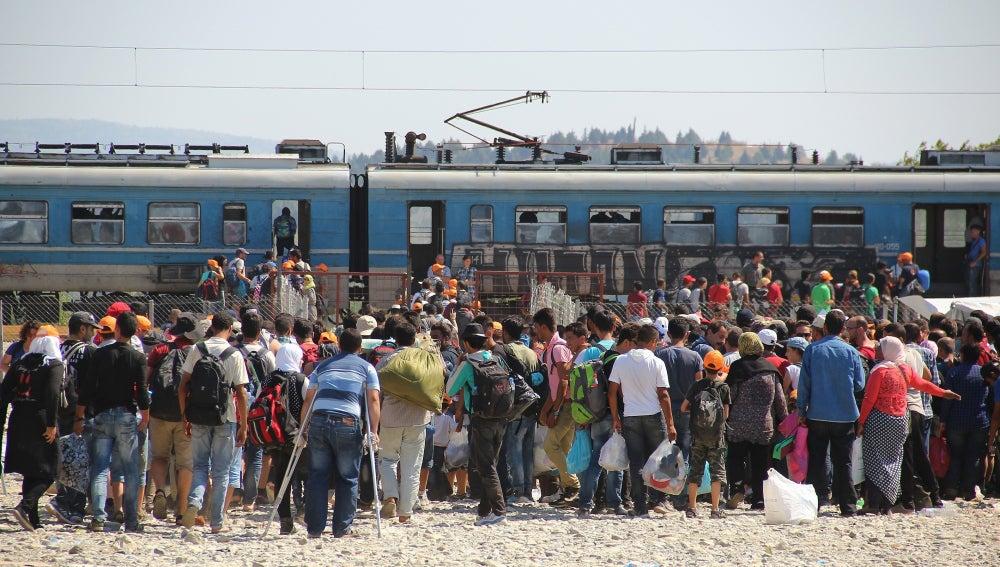 Tren con inmigrantes desde Macedonia